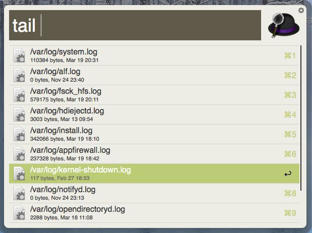 Alfred Workflow pro tail systémových logů
